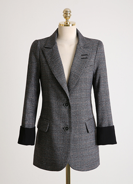 Glen Check Print Single Button Tailored Jacket, Styleonme