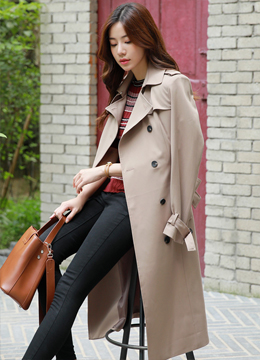 Classic Double-Breasted Trench Coat, Styleonme