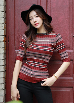 Mix Stripe Half Sleeve Ribbed Knit Tee, Styleonme