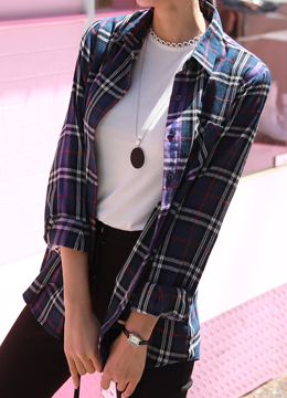 Tartan Check Print Collared Shirt, Styleonme