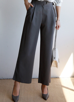 Silver Button Wide Leg Slacks, Styleonme