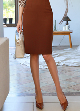 Fall Color High-Waisted Pencil Skirt, Styleonme