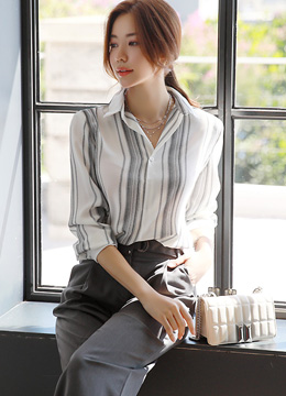 Modern Pinstripe Collared Blouse, Styleonme