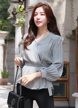 Pleated Sleeve Peplum Blouse, Styleonme