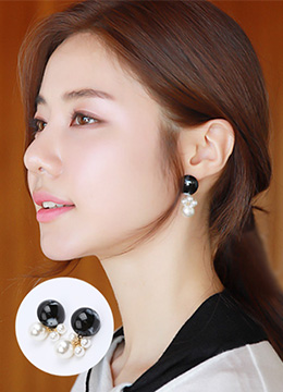 Black Stone Pearl Drop Earrings, Styleonme