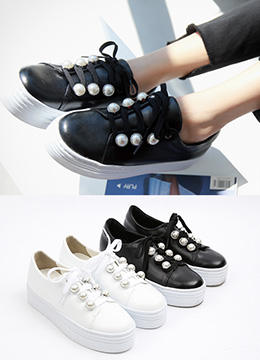 Pearl Accent Leather Platform Sneakers, Styleonme