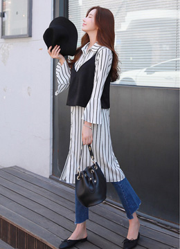Camisole Set Pinstripe Long Collared Shirt, Styleonme