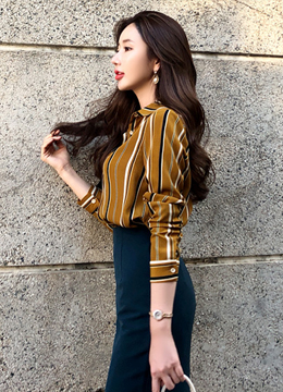 Multi Color Pinstripe Roll-Up Sleeve Blouse, Styleonme