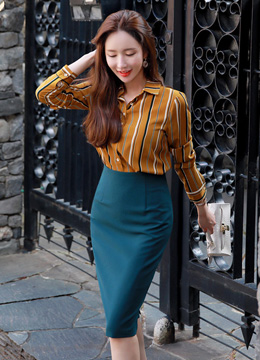 High-Waisted Slim Fit Pencil Skirt, Styleonme