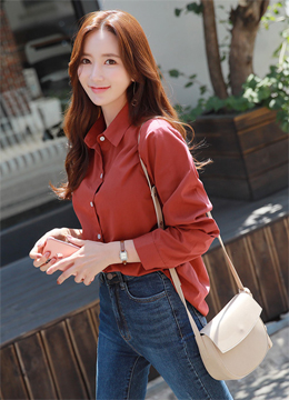 Autumn Color Collared Shirt, Styleonme
