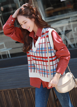 Mix Color Check Print Knit Vest, Styleonme