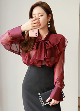 See-through Ribbon Tie Ruffle Blouse, Styleonme