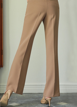 Semi-High Waisted Boot-Cut Slacks, Styleonme