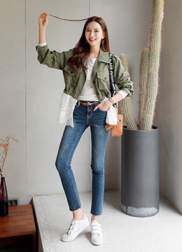 Feminine Lace Trim Field Jacket, Styleonme