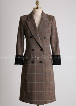 Glen Check Print Long Double-Breasted Jacket, Styleonme