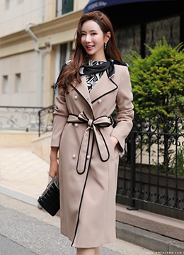 Contrast Color Trim Double-Breasted Trench Coat, Styleonme
