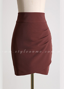 Side Shirred Slim Fit H-Line Skirt, Styleonme