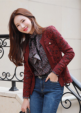 Pearl Button Floral Lace Jacket, Styleonme