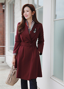 Feminine Belt Set Flared Coat, Styleonme