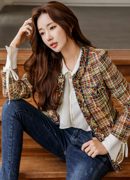Mix Color Slim Fit Tweed Jacket, Styleonme