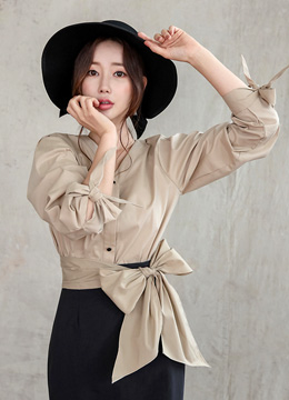 Ribbon Tie V-Neck Blouse, Styleonme