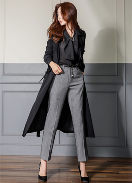 Waist Tie Long Trench Coat, Styleonme