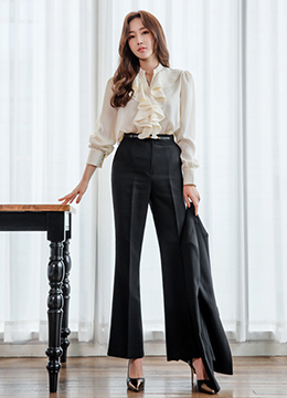 Simple Boot-Cut Slacks, Styleonme