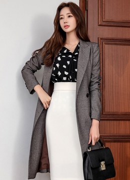 Check Print Double-Breasted Long Jacket, Styleonme