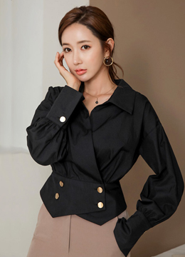 Double-Breasted Gold Button Collared Blouse, Styleonme