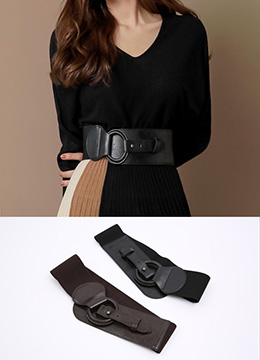 Circle Buckle Wide Belt, Styleonme