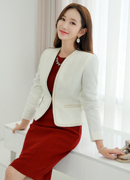 Gold Trim Slim Fit Short Jacket, Styleonme