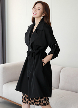 Natural Fit Roll-Up Sleeve Trench Coat, Styleonme