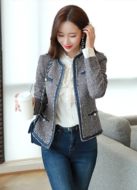 Denim Trim Pearl Button Tweed Jacket, Styleonme