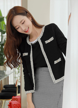Antique Style Button Contrast Trim Jacket, Styleonme