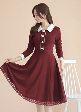 Lace Trim Collared Flared Dress, Styleonme