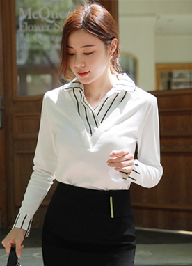 Collared Pinstripe Shirt Layered Top, Styleonme