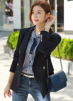 Modern Double-Breasted Tailored Jacket, Styleonme