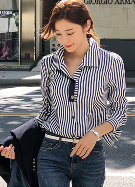 Pinstripe Ribbon Sleeve Collared Blouse, Styleonme