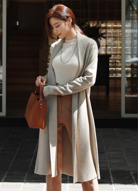 Soft Shawl Collar Long Cardigan, Styleonme