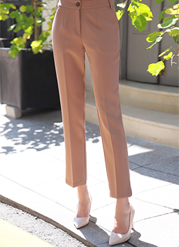 Side Slit Detail Straight Leg Slacks, Styleonme