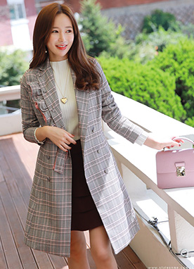 Feminine Frill Trim Double-Breasted Coat, Styleonme