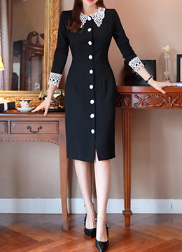 Lace Collar and Cuff Button Dress, Styleonme