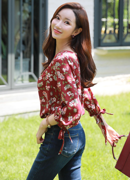 Floral Print Ribbon Sleeve Blouse, Styleonme