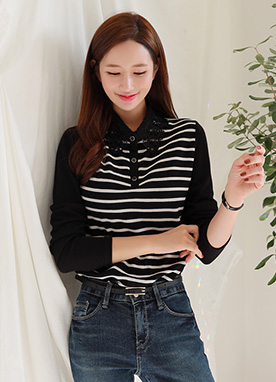 Lace Collar Stripe T-shirt, Styleonme