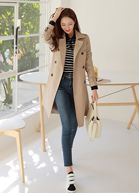 Simple Double-Breasted Trench Coat, Styleonme