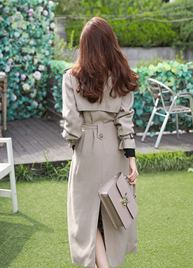 Back Slit Double-Breasted Long Trench, Styleonme