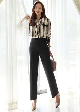 Side Pearl Button Slacks, Styleonme