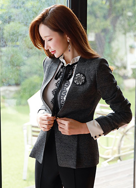 Single Button Slim Fit Collarless Jacket, Styleonme