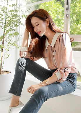 Pink Pinstripe Collared Blouse, Styleonme