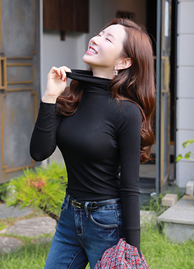 Soft Slim Fit Turtleneck T-shirt, Styleonme